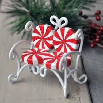 Fairy Garden Miniature Candy Cane Love Seat