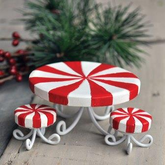 Fairy Garden Miniature Candy Cane Table & Stools
