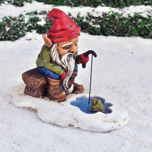 Fairy Garden Miniature Ice Fishing Gnome