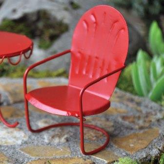 Fairy Garden Miniature Red Chair-Fairy Garden Miniature Red Chair