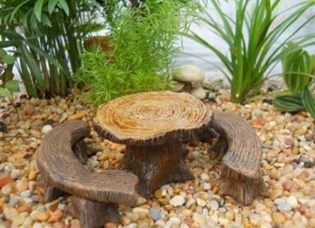 Fairy Garden Miniature Table and Bench Stump-Fairy Garden Miniature Table and Bench Stump