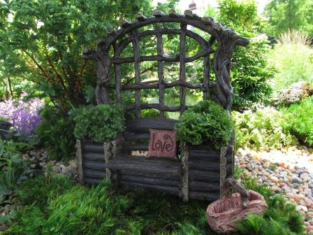 Fairy Garden Miniature Twig Bench with Planters