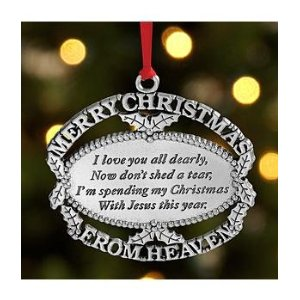Merry Christmas From Heaven Pewter Ornament with Bookmark-Merry Christmas from Heaven Pewter Ornament