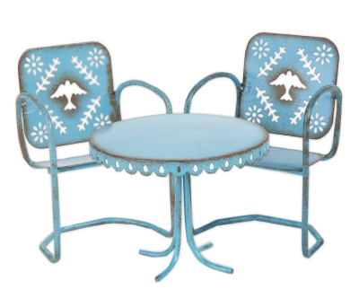 Fairy Garden Miniature Blue Bird Bistro 3 pc set-Fairy Garden Miniature Furniture