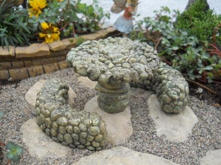Fairy Garden Miniature Pebble Table and 2 Bench-Fairy Garden Miniature Pebble Table and 2 Bench