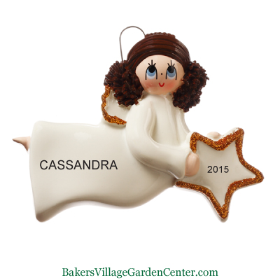 Personalized Christmas Ornaments Angel Brown Hair with Star
