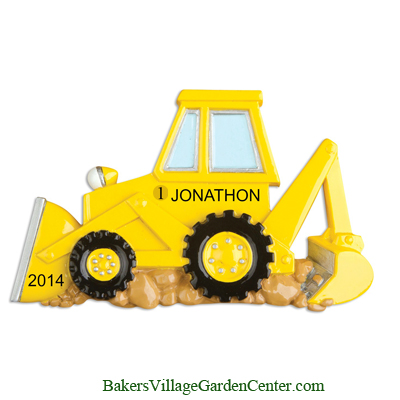 Personalized Christmas Ornaments Back Hoe