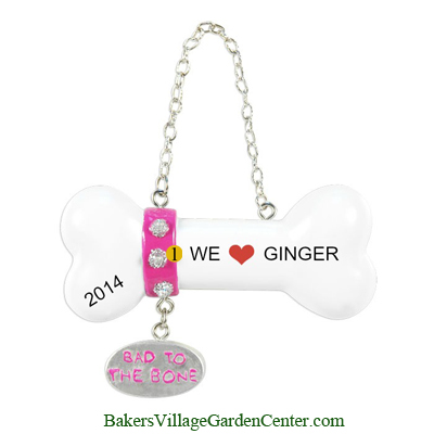 Personalized Christmas Ornaments Bad to the Bone Pink