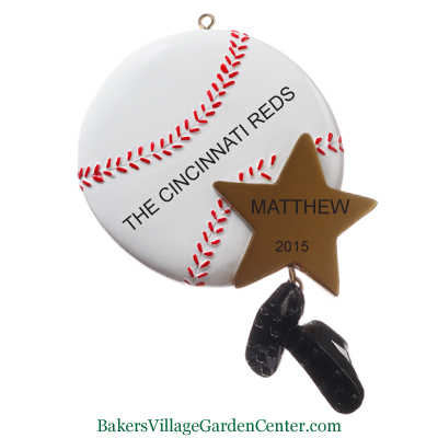 personalized christmas ornaments baseball with gold star - Baseball Christmas Ornaments