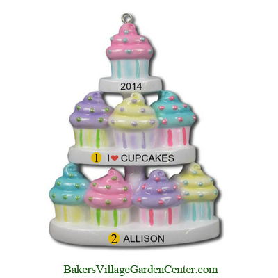 Personalized Christmas Ornaments 3-Tier Cupcakes