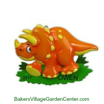 Personalized Christmas Ornaments Dinosaurs Orange