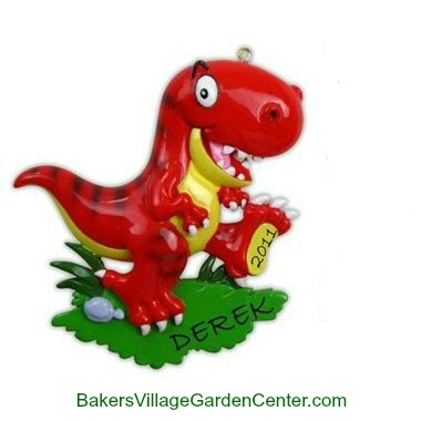 Personalized Christmas Ornaments Dinosaurs Red