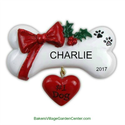 Personalized Christmas Ornaments Dog Bone with Bow and Heart