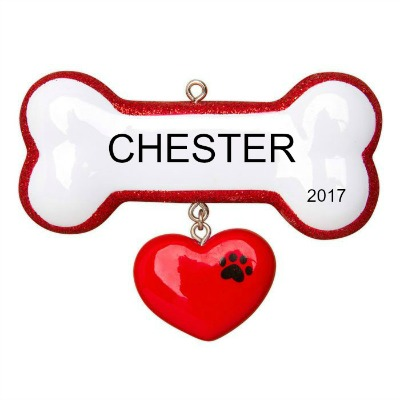 Personalized Christmas Ornaments Dog Bone with Heart