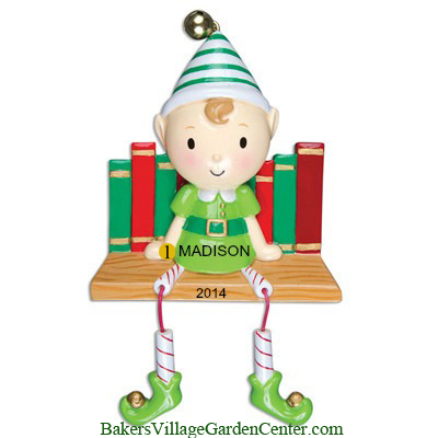 Personalized Christmas Ornaments Elf on Books