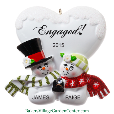 Personalized Christmas Ornaments Engaged Couple Snowman Heart