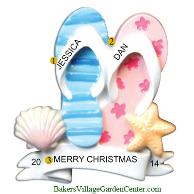 Personalized Christmas Ornaments Flip Flop Family of 2