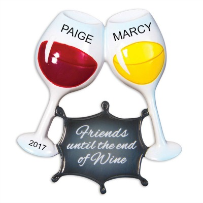 Personalized Christmas Ornaments Friends Until the End of Wine