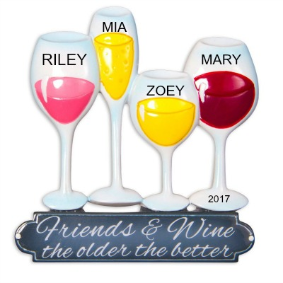 Personalized Christmas Ornaments Friends and Wine the Older the Better