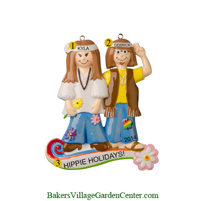 Personalized Christmas Ornaments Hippie Couple