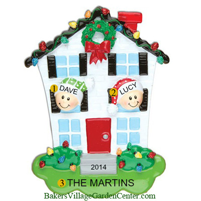 Personalized Christmas Ornaments House Family of 2