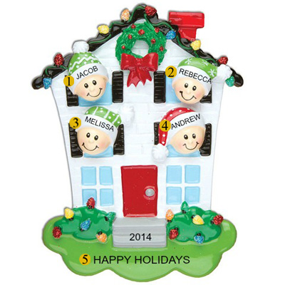 Personalized Christmas Ornaments House Family of 4
