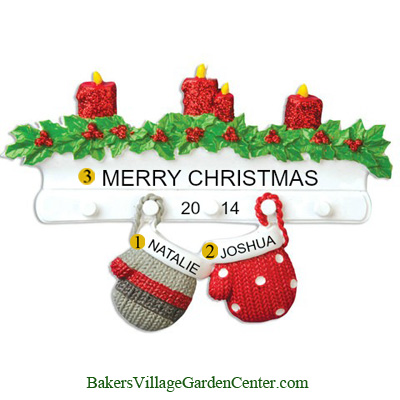 Personalized Christmas Ornaments Mitten Family of 2