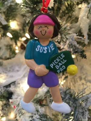 Personalized Christmas Ornaments Pickle Ball Female