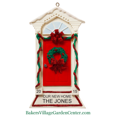 Personalized Christmas Ornaments Red Door with Wreath and Garland