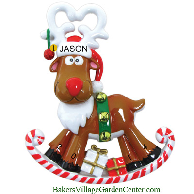 Personalized Christmas Ornaments Rocking Reindeer