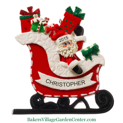 Personalized Christmas Ornaments Santa Claus with Sleigh