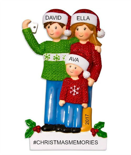 Personalized Christmas Ornaments Selfie Family of 3