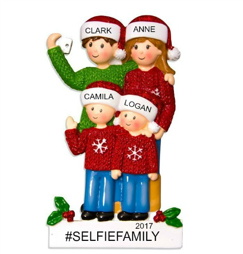 Personalized Christmas Ornaments Selfie Family of 4