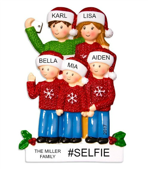 Personalized Christmas Ornaments Selfie Family of 5