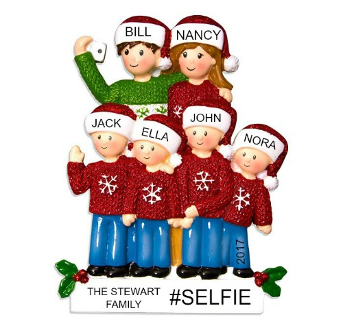 Personalized Christmas Ornaments Selfie Family of 6