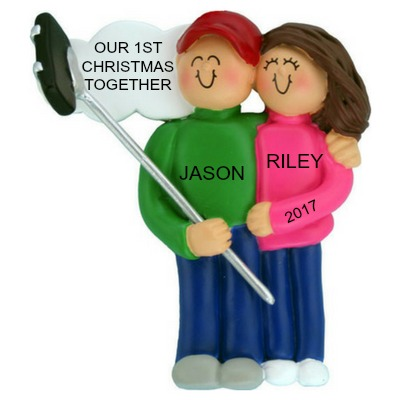 Personalized Christmas Ornaments Selfie Stick Couple