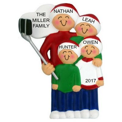 Personalized Christmas Ornaments Selfie Stick Family of 4