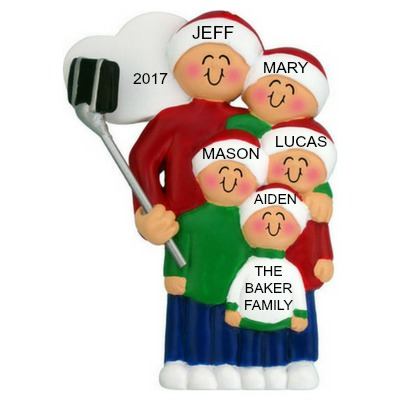 Personalized Christmas Ornaments Selfie Stick Family of 5