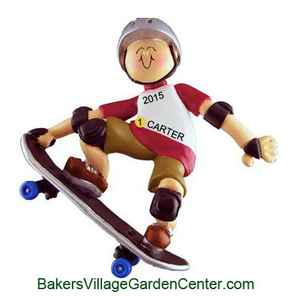 Personalized Christmas Ornaments Skateboarder Male