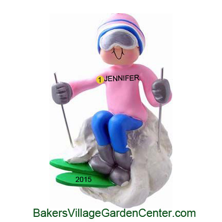 Personalized Christmas Ornaments Skier Female