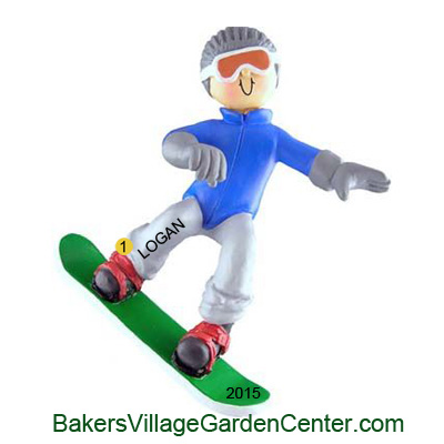 Personalized Christmas Ornaments Snowboarder Male