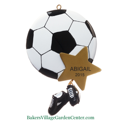 Personalized Christmas Ornaments Soccer Ball with Gold Star