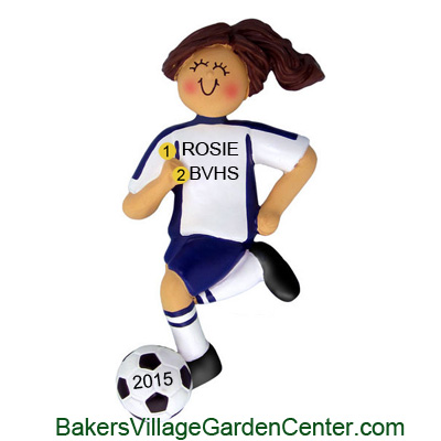 Personalized Christmas Ornaments Soccer Female Blue