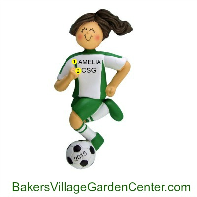 Personalized Christmas Ornaments Soccer Female Green