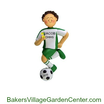 Personalized Christmas Ornaments Soccer Male Green