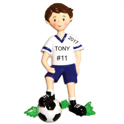Personalized Christmas Ornaments Soccer Player Boy