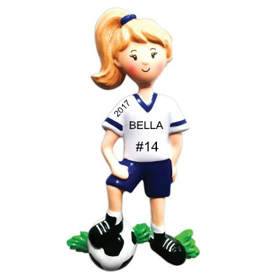 Personalized Christmas Ornaments Soccer Player Girl