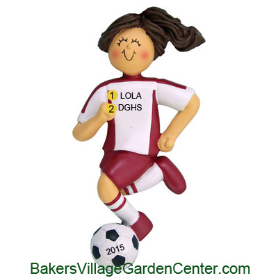 Personalized Christmas Ornaments Soccer Female Red