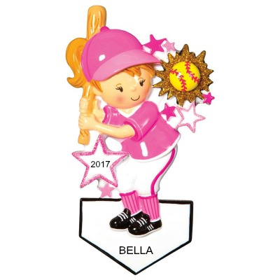 Personalized Christmas Ornaments Softball Player