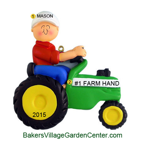 Personalized Christmas Ornaments Tractor Man Green